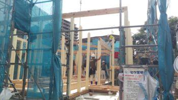 広島の建築設計事務所 かんくう建築デザインの古市の家の棟上げ2