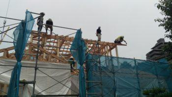 広島の建築設計事務所 かんくう建築デザインの古市の家の棟上げ5